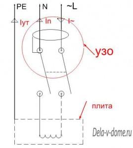Электрическая схема Устройства Защитного Отключения, УЗО