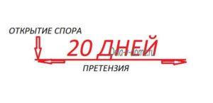 Открытие претензии 20 дней